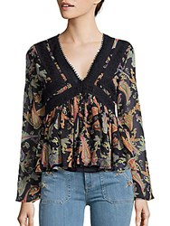 Romeo And Juliet Couture Paisley Print Flared Top Black Multi