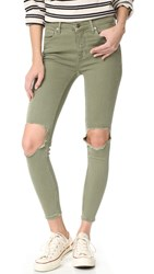 Free People High Rise Busted Skinny Jeans Moss