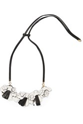 Marni Leather And Crystal Necklace White