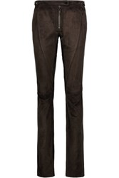Belstaff Mayfield Suede Straight Leg Pants Dark Brown