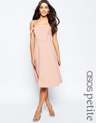 Asos Petite Midi Dress With Tab Shoulder And Full Skirt Pink
