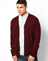 Brave Soul Cable Cardigan Red