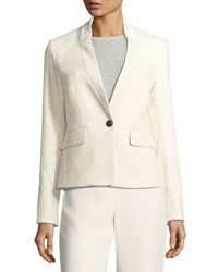 Veronica Beard Tate Upcollar One Button Blazer Beige