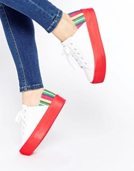 Asos Dion Flatform Lace Up Trainers Stripe Red