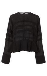 Carven Tiered Peplum Blouse Black