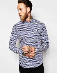 Vito Shirt With All Over Geo Print In Slim Fit Navy