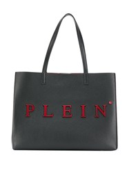 Philipp Plein Logo Plaque Tote Bag Black
