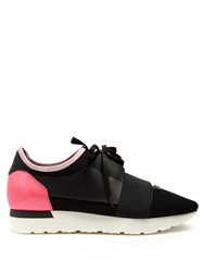 Balenciaga Race Runner Panelled Low Top Trainers Black Pink