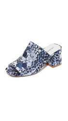 Jeffrey Campbell Perpetua Brocade Mules Blue White Floral