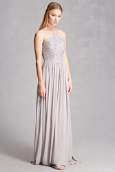 Forever 21 Sequined Halter Maxi Dress Grey