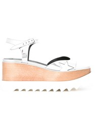Stella Mccartney Cutout Wedge Sandals Metallic