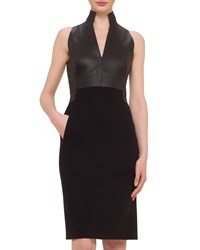 Akris Leather Combo Sheath Dress Women's