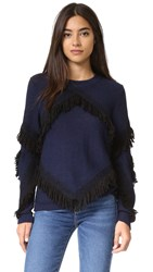 Tanya Taylor Fringe Cha Cha Sweater Midnight