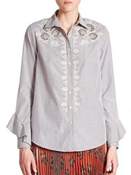 Suno Embroidered Button Front Cotton Shirt Striped