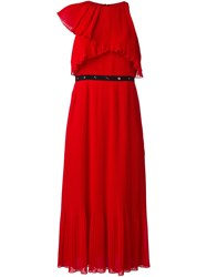 Giamba Pleated Midi Dress Red