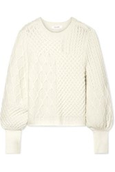 Frame Paneled Wool Blend Sweater Cream