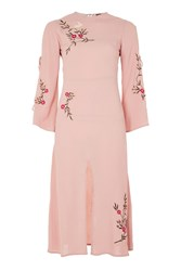 Topshop Embroidered Tie Sleeve Midi Dress Pale Pink