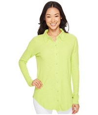 Mod O Doc Textured Slub Stripe Back Crossover Button Front Shirt Lime Women's Clothing Green