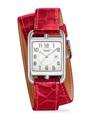 Hermes Cape Cod Stainless Steel And Alligator Double Wrap Watch Dark Red