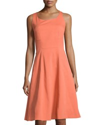 Lafayette 148 New York Angelee Cotton Blend A Line Dress Rust