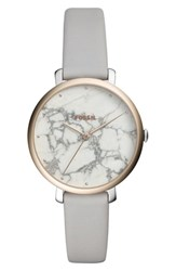 Fossil Jacqueline Stone Dial Leather Strap Watch 36Mm Gray White Silver