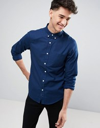 Pull And Bear Oxford Shirt In Navy In Regular Fit Navy