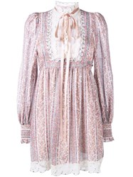Marc Jacobs Paisley Stripe Gauze Long Sleeve Dress Women Silk Cotton 2 Pink Purple