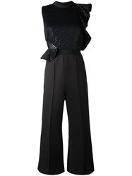Self Portrait Tailored Cropped Jumpsuit Black