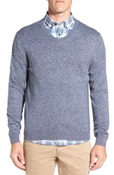 Nordstrom Men's Big And Tall Men's Shop Cotton And Cashmere V Neck Sweater Blue Estate Jaspe