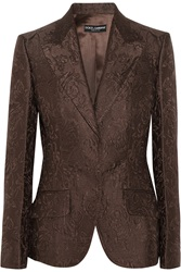 Dolce And Gabbana Cotton And Silk Blend Brocade Blazer Brown