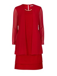 Gina Bacconi Chiffon Dress And Coat With Gold Band Red