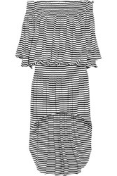 Norma Kamali Peasant Off The Shoulder Striped Stretch Jersey Dress Off White