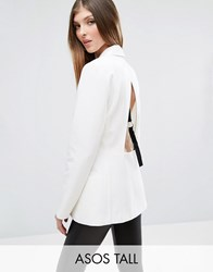 Asos Tall Open Back Blazer With Tape White