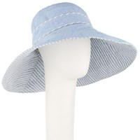 John Lewis Reversible Striped Wide Brim Sun Hat Chambray Grey