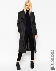 Asos Tall Coat With Funnel Neck And Belt Charcoal