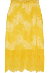 Carven Belted Lace Skirt Yellow