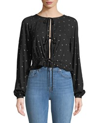 Knot Sisters Tie Front Balloon Sleeve Blouse Black