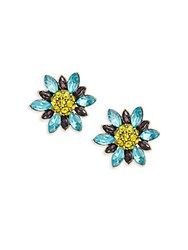 Heidi Daus Marquise Crystal And Rhinestone Flower Stud Earrings Aquamarine