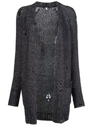 R 13 R13 Ripped Detail Knitted Cardigan Black