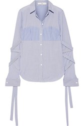 Tibi Striped Cotton Poplin Shirt Blue