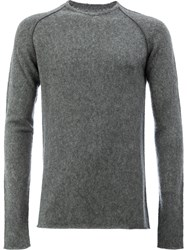 Label Under Construction Crew Neck Sweater Men Silk Cashmere 52 Grey