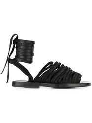 Dimissianos And Miller Ankle Lace Up Flat Sandals Women Calf Leather Leather 37 Black