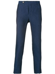 Entre Amis Cropped Tapered Trousers Blue