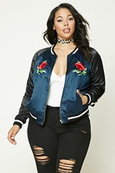 Forever 21 Plus Size Embroidered Jacket Blue Black