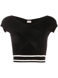 Mrz Cropped Knitted Top Black