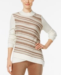 Alfred Dunner Mock Neck Striped Sweater Multi