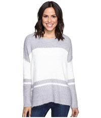 Michael Stars Fuzzy Oversized Stripe Pullover Sweater Silver Ivory Women's Sweater Gray