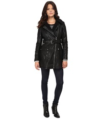 Jessica Simpson Long Faux Leather Moto Jacket With Faux Shearling Black Women's Coat