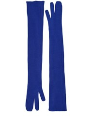 Maison Martin Margiela Long Rib Knit Gloves Blue