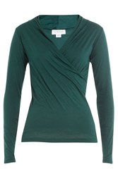 Velvet Draped Cotton Top Green